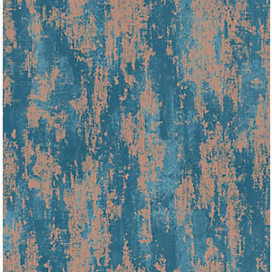 Boutique Industrial Texture Turquoise Decorative Wallpaper - 10m