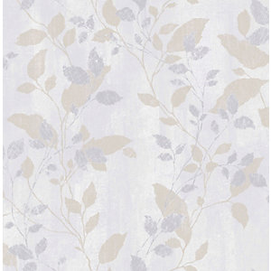 Boutique Vermeil Leaf Grey Decorative Wallpaper - 10m