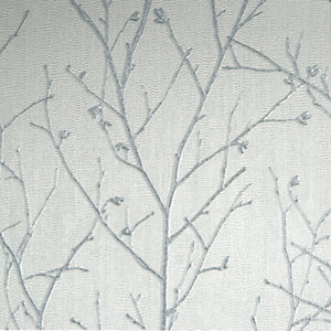 Boutique Water Silk Sprig Light Silver Decorative Wallpaper - 10m