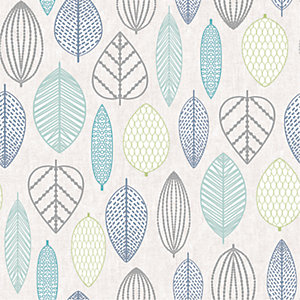 Superfresco Easy Blue Scandi Leaf Wallpaper - 10m