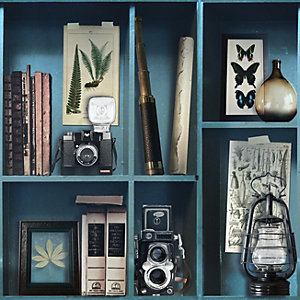 Superfresco Easy Curiosite Biblio Bleu Decorative Wallpaper - 10m
