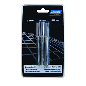 Norton 6/8/10mm Diamond Tile Drill Bits - Pack of 3