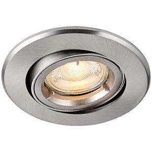 Saxby GU10 Fire Rated Cast Adjustable Downlight - Brushed Nickel