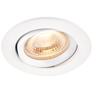 Saxby Integrated LED Adjustable Warm White Dimmable Downlight 5.5W - Matt White