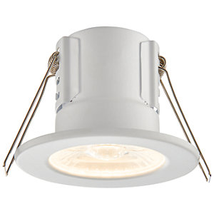 Saxby Integrated LED Fire Rated IP65 Warm White Dimmable Downlight 500lm - Matt White