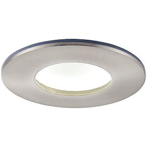 Saxby Orbital Plus LED Anti Glare Fire Rated IP65 Cool White Dimmable Downlight 9W - Brushed Nickel