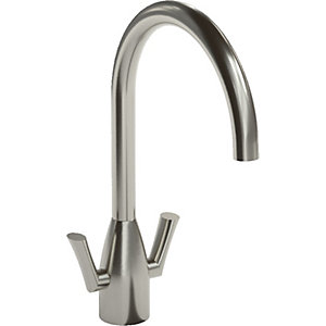 Abode Airo Dual Lever Monobloc Sink Tap - Stainless Steel
