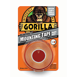 Gorilla Heavy Duty Mounting Tape Clear 25mm x 1.5m