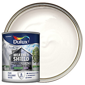 Dulux Weathershield Exterior Multi Surface Quick Dry Satin Paint - Pure Brilliant White 750ml