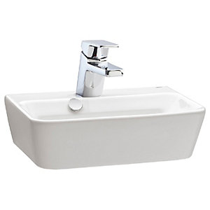 Wickes Emma 1 Tap Hole Wall Hung Square Bathroom Basin - 420mm