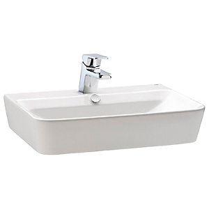 Wickes Emma 1 Tap Hole Wall Hung Square Bathroom Basin - 600mm