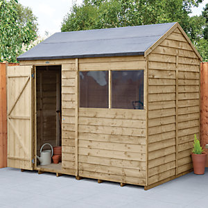 Forest Garden 8 x 6 ft Reverse Apex Overlap Pressure Treated Shed