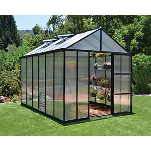Palram 8 x 12ft Glory Large Aluminium Apex Greenhouse with Polycarbonate Panels