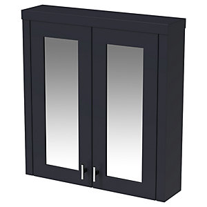 Wickes Hayman Indigo Blue Traditional Mirror Cabinet - 700 x 600mm