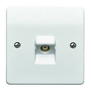 MK Single Coaxial TV/FM Socket - White