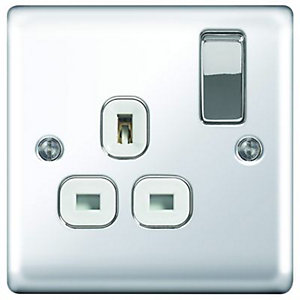Wickes 13A Raised Plate Single Switched Socket - Polished Silver