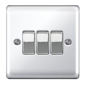 Wickes 10A 3 Gang 2 Way Switch  Polished Chrome Raised Plate