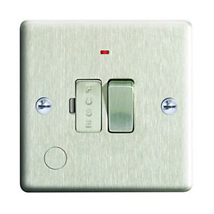 Wickes 13A Switched Fused Socket + LED Screwed Raised Plate Brushed Steel