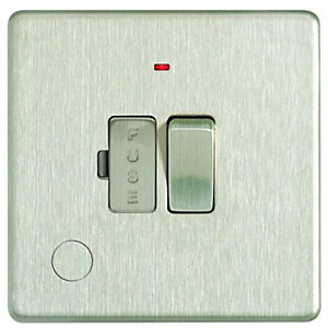 Wickes 13A Switched Fused Socket + LED Screwless Flat Plate Brushed Steel