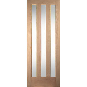 Jeld-Wen Aston Clear Glazed Oak 3 Lite Internal Door - 1981mm