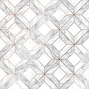 Contour Marble Marquetry Grey Decorative Wallpaper - 10m