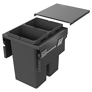 Envi Anthracite 2x32l Pull Out Waste Bin For 500mm Base Unit