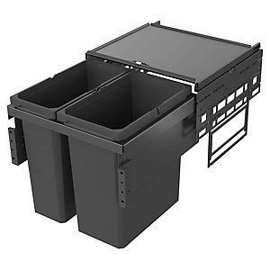 Envi Anthracite Under Sink Pull Out Waste Bin 1x21l & 1x28l For 500mm Base Unit