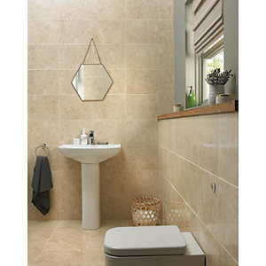 Wickes Amalfi Mocca Beige Ceramic Wall & Floor Tile - 360 x 275mm