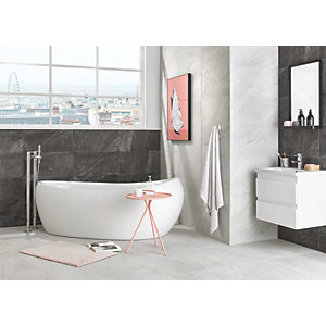 Wickes Amaro Linen Porcelain Wall & Floor Tile - 615 x 308mm