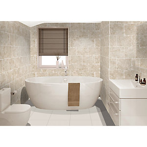 Wickes Avellino Cappuccino Beige Ceramic Wall & Floor Tile - 360 x 275mm