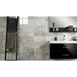Wickes Avellino Cappuccino Grey Ceramic Wall & Floor Tile - 360 x 275mm