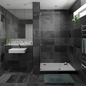 Wickes Black Slate Effect Wall & Floor Tile 670 x 333mm