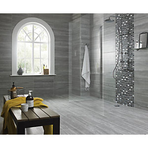 Wickes Everest Slate Porcelain Wall & Floor Tile - 600 x 300mm