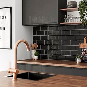Wickes Metro Black Ceramic Wall Tile - 200 x 100mm