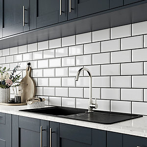 Wickes Metro White Ceramic Wall Tile - 200 x 100mm