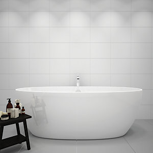 Wickes White Gloss Ceramic Wall Tile - 360 x 275mm