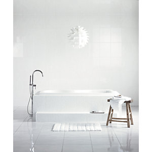 Wickes White Satin Ceramic Wall Tile - 360 x 275mm
