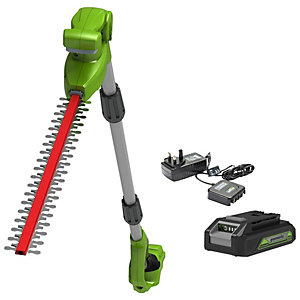 24V 51cm 20inch Long Reach Cordless Hedge Trimmer with 2Ah Battery annd Charger
