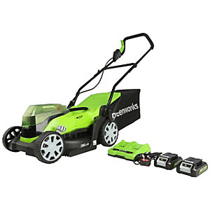 Greenworks 48V Lawnmower with 2 x 24v 2Ah Batteries & 2A Charger - 36cm