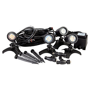 ELLUMIÈRE Black Outdoor Low Voltage LED Small Spotlight Starter Kit 2W 4 Pack