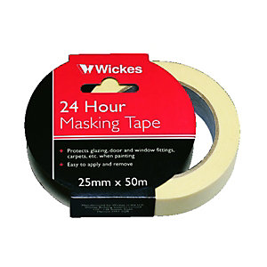Wickes Multi-Surface Cream Masking Tape - 24mm x 50m