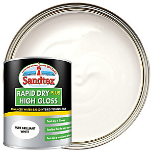 Sandtex Rapid Dry Plus High Gloss Paint - Pure Brilliant White 750ml