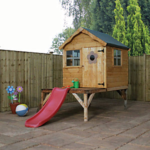 Mercia 10 x 5 ft Timber Snug Playhouse with Tower & Slide