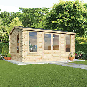 Mercia 4.5m x 3.5m 34mm Log Thickness Single Glazed Home Office