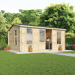 Mercia 5m x 4m 28mm Log Thickness Single Glazed Home Office
