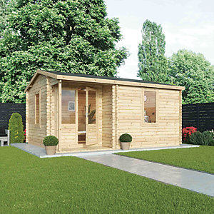 Mercia 5m x 4m 34mm Log Thickness Single Glazed Veranda Home Office