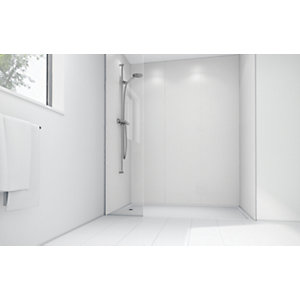 Mermaid White Matte Acrylic 2 Sided Shower Panel Kit