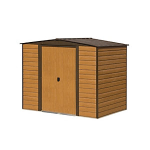 Rowlinson Woodvale 8 x 6ft Double Door Metal Apex Shed without Floor