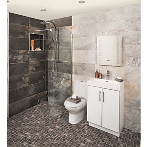 Wickes Colorado Carbon Grey Mosaic Porcelain Tile 300 x 300mm Pack of 6