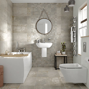 Wickes Colorado Silver Grey Mosaic Porcelain Tile 300 x 300mm Pack of 6